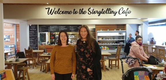 Fiona MacDougall and Amy Douglas at The Scottish Storytelling Centre